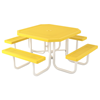 "Octagonal Thermoplastic Picnic Tables 46"" Attached Seats"