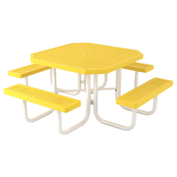 """Octagonal Thermoplastic Picnic Tables 46"""" Attached Seats"""