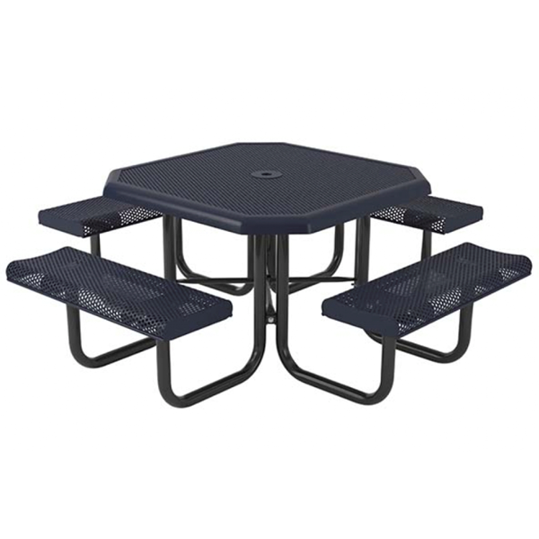 """Octagonal Thermoplastic Picnic Tables 46"""". Attached Seats Rolled Edge"""