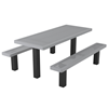 Rectangular Picnic Table 6 Ft. 2 Un-Attached Seats