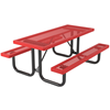 Rectangular Picnic Table 6 Ft. Attached Seat Plastic Coated Expanded Metal