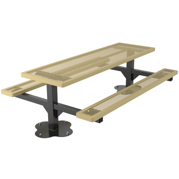 Rectangular Picnic Table 8 Ft. Attached Seats Plastic Coated Expanded Metal with 4 In. Galvanized Steel Pedestal