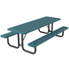 Rectangular Picnic Table 8 Ft. Attached Seats Plastic Coated Small Perforated Steel with Welded 2 3/8 In. Galvanized Steel