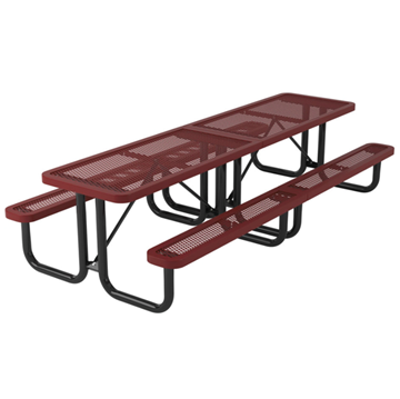Rectangular Thermoplastic Picnic Table 10 Ft. Plastic Coated Expanded Metal with Welded 2 3/8 inch Galvanized Steel