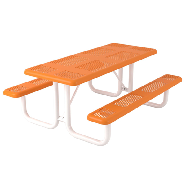 Rectangular Thermoplastic Picnic Table 6 foot Attached Seats