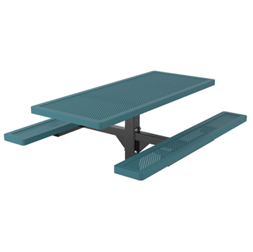 Rectangular Thermoplastic Picnic Table 6 Ft. Attached Seat Plastic Coated Small Perforated Steel