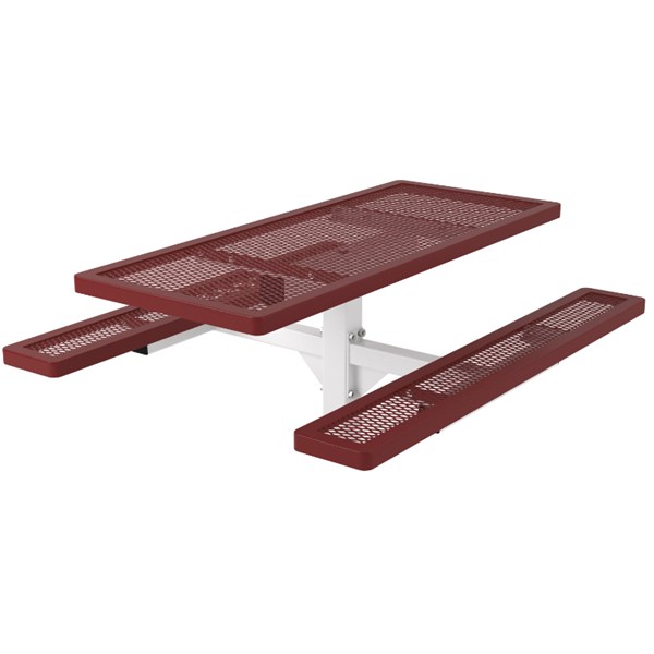 Rectangular Thermoplastic Picnic Table 6 Ft. Attached Seats Plastic Coated Expanded Metal