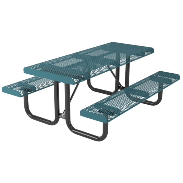 Rectangular Thermoplastic Picnic Table 6 Ft. Attached Seats Plastic Coated Rolled Expanded Metal