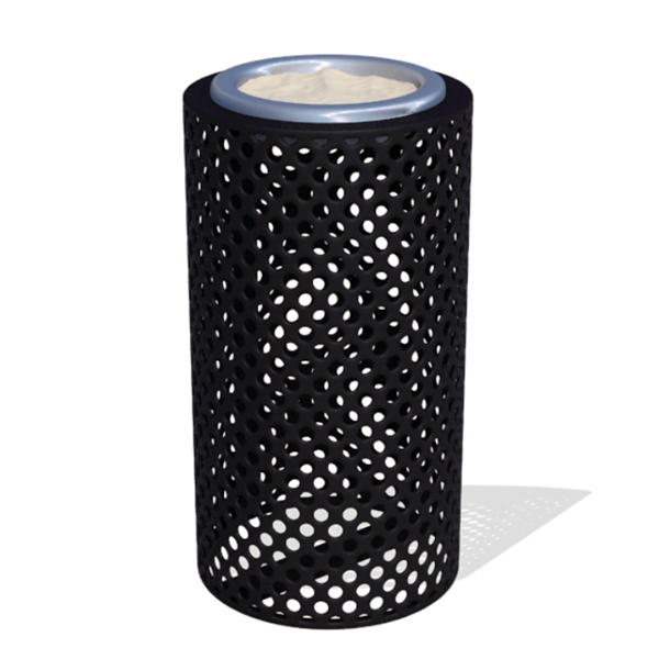 Round Ash Urn 11x24 In. Plastic Coated Perforated with Steel Tray