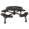 Round Picnic Table 46 In. Attached Seats Plastic Coated Expanded Metal with Bolted 2 7/8 In. Galvanized Steel