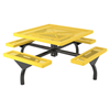 Square Picnic Table 46 Inch Attached Seats Plastic Coated Rolled Expanded Metal