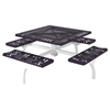 Square Thermoplastic Picnic table 46 In. Attached Seats Plastic Coated Rolled Expanded Metal
