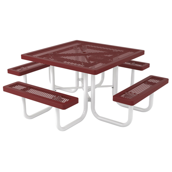 Square Thermoplastic Picnic Tables 46 In. Attached Seats Plastic Coated Expanded Metal