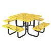 "Square Thermoplastic Picnic Tables 46"" Attached Seats Plastic Coated Rolled Expanded Metal"