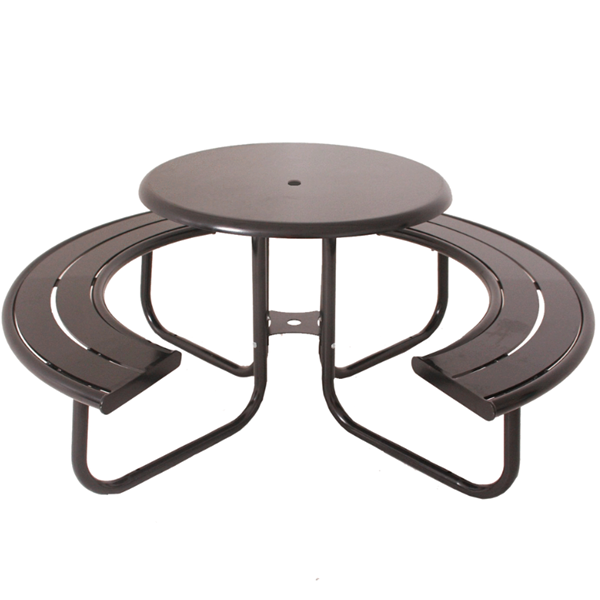 """Acadia 36"""" Round Powder Coated Steel Portable Picnic Table"""