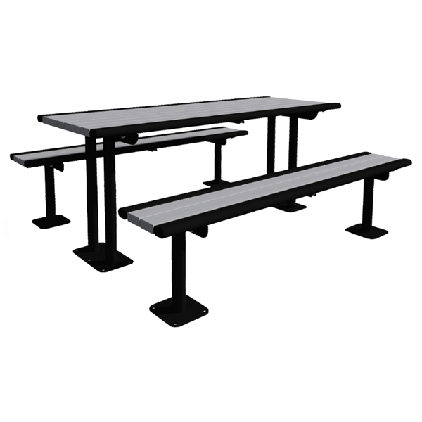 Arches 6 Foot Recycled Plastic Pedestal Table with Detached Benches