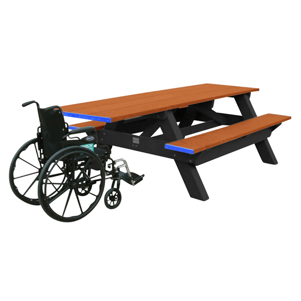 Single End Access ADA Recycled Plastic Picnic Table