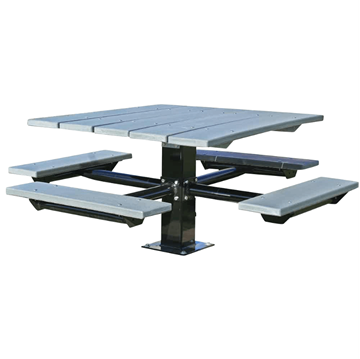Single Post 48 in. Square Recycled Plastic Top Picnic Tables,Galvanized 6' In-ground Pedestal, Commercial