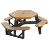 Hexagonal Recycled Plastic Picnic Table with Attached Benches, 258 Lbs.