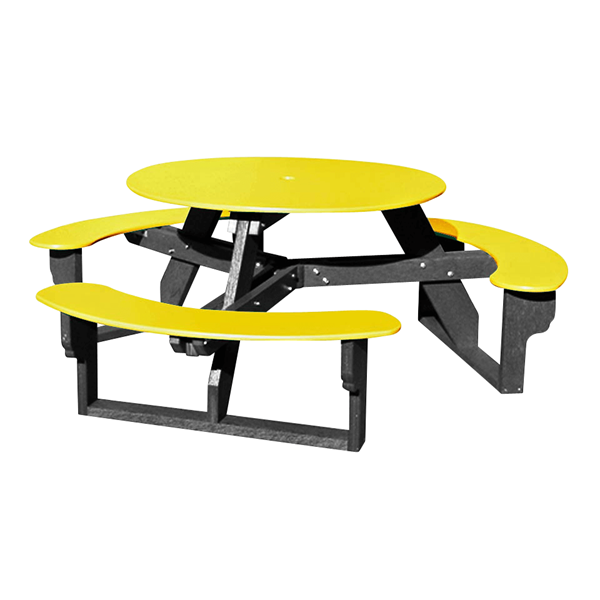 "46"" Round Recycled Plastic Picnic Table, 212 lbs"