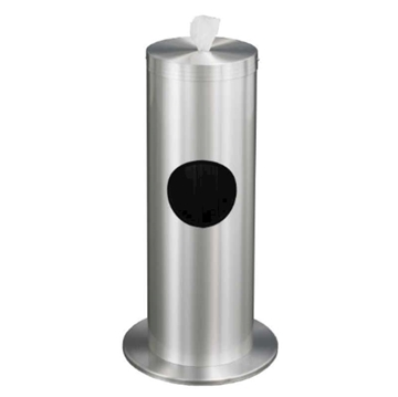 Floor Standing Hand Wipe Dispenser with Trash Receptacle