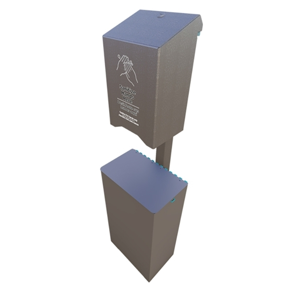 10-Gallon Trash Receptacle with Post Mounted Automatic Sanitation Gel Dispenser