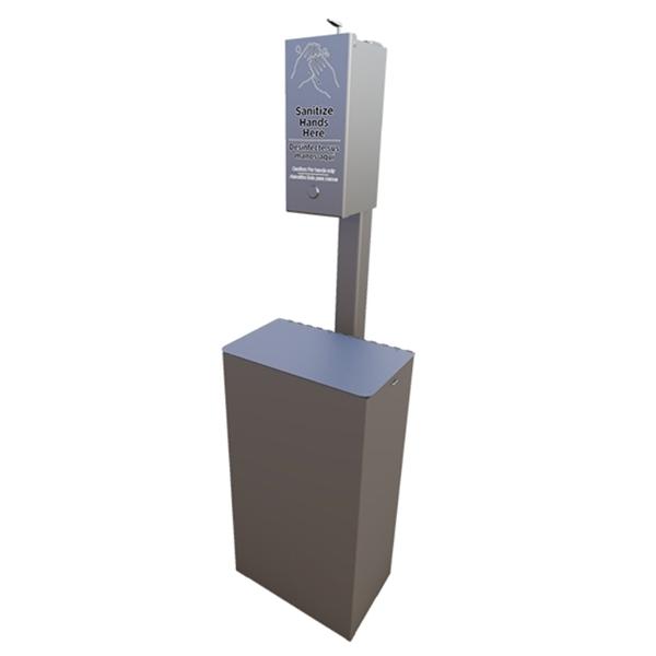 10-Gallon Trash Receptacle with Post Mounted Manual Sanitation Gel Dispenser