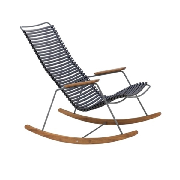 Ledge Lounger Playnk Slat Rocker Chair with Bamboo Accents and Powder-Coated Metal Frame - 27 lbs.