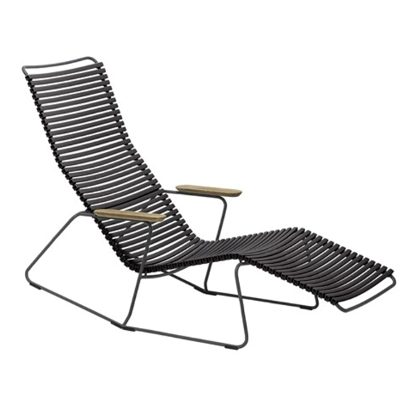 Ledge Lounger Resin Slat Playnk Chaise Lounge with Bamboo Armrests - 30 lbs.