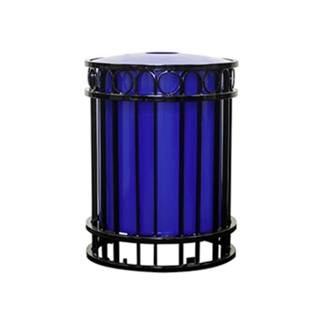 32-Gallon Flat Bar Steel Trash Receptacle with Inner Sleeve - 156 lbs.
