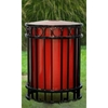 32-Gallon Flat Bar Steel Trash Receptacle with Inner Sleeve - 156 lbs.