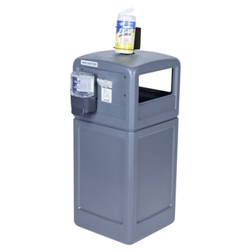 42-Gallon Trash Receptacle PolyTec Series with Sanitation Station - 80 lbs.