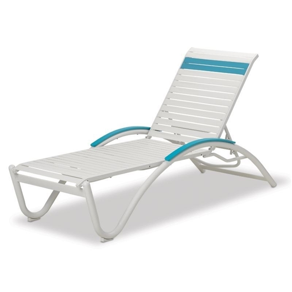 Helios Contract Vinyl Strap Chaise Lounge with Commercial Aluminum Frame - 29 lbs.