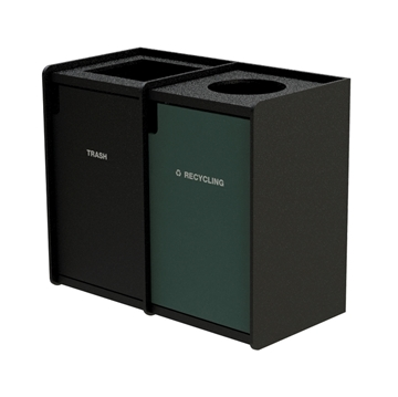 Dual 42-Gallon Recycling and Trash Receptacle EarthCraft Series - 168 lbs.