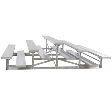 3 Row Back-To-Back 7.5 ft.  Aluminum Bleacher without Guardrails and Double Footboards - 185 lbs.