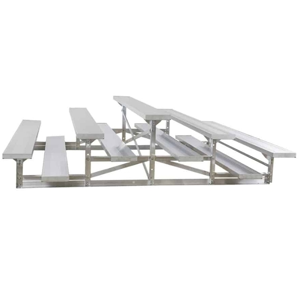 3 Row Back-To-Back 15 ft.  Aluminum Bleacher without Guardrails and Double Footboards - 360 lbs.