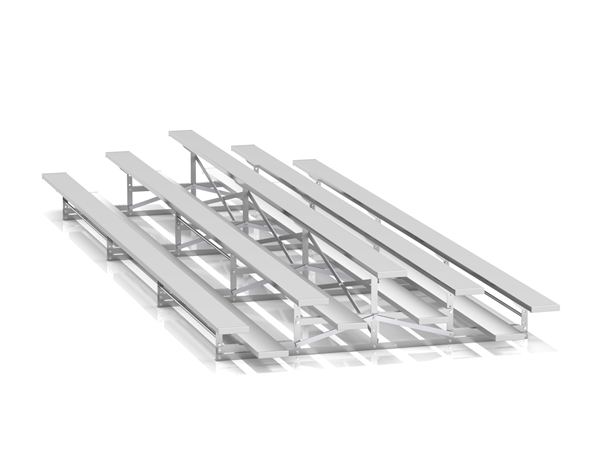 3 Row Back-To-Back 27 ft. Aluminum Bleacher without Guardrails and Double Footboards - 600 lbs.