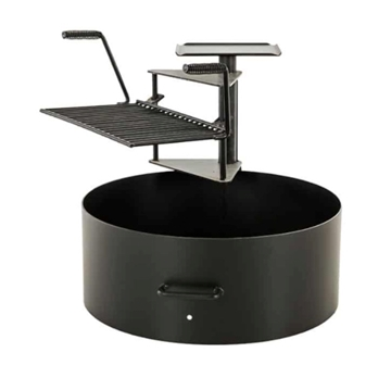"20"" Ultimate Cooking Fire Ring with Swinging Grate and 300 Sq In Grilling Surface - 100 lbs."