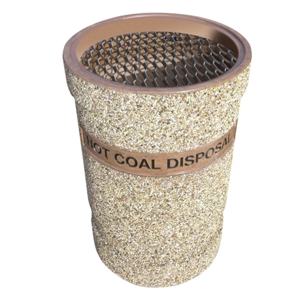 53-Gallon Reinforced Concrete Coal and Ash Receptacle - 610 lbs.