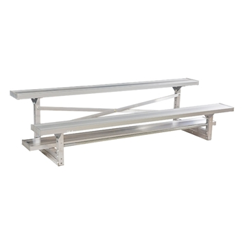 2 Row 7.5 ft. Aluminum Bleacher without Guardrails and Double Footboards - 100 lbs.