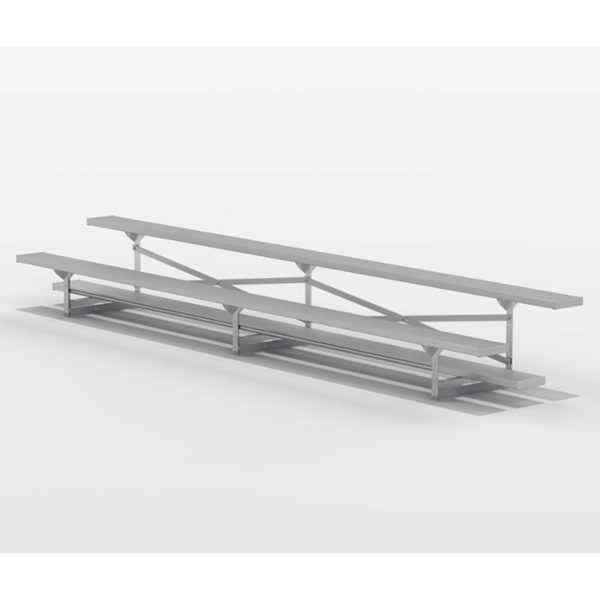 2 Row 15 ft. Aluminum Bleacher without Guardrails and Double Footboards - 155 lbs.