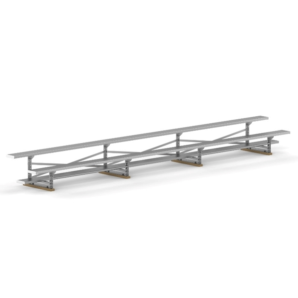 2 Row 21 ft. Aluminum Bleacher without Guardrails and Double Footboards - 215 lbs.