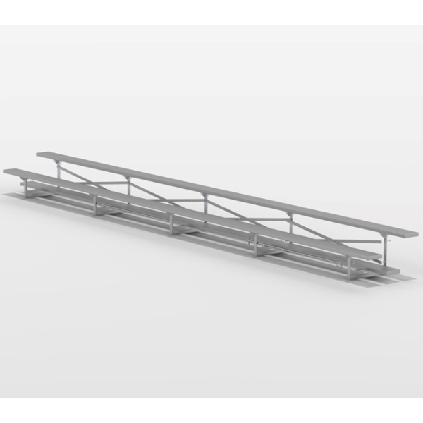 2 Row 27 ft. Aluminum Bleacher without Guardrails and Double Footboards - 260 lbs.