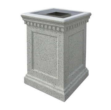 24-Gallon Colonial Waste Container with Reinforced Concrete Frame - 640 lbs.