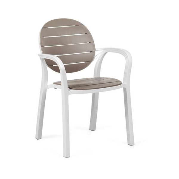 Palma Stackable Plastic Resin Dining Arm Chair - 11.5 lbs.