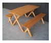 5 ft. Crossleg Wooden Picnic Table with 2 Detached Benches - 72 lbs.