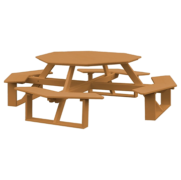 "54"" Octagonal Poly Recycled Plastic Walk-In Picnic Table - 230 lbs."