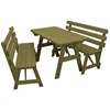 6 ft. Wooden Picnic Table with 2 Benches - 225 lbs.