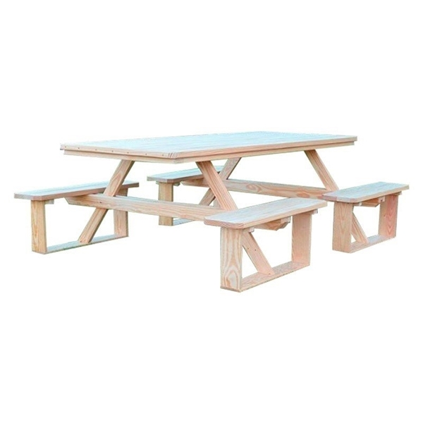 8 ft. Wooden Rectangular Walk-In Picnic Table - 295 lbs.