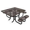 """Elite Series ADA Compliant 46"""" Square Thermoplastic Polyethylene Coated Picnic Table Expanded Metal - Brown"""